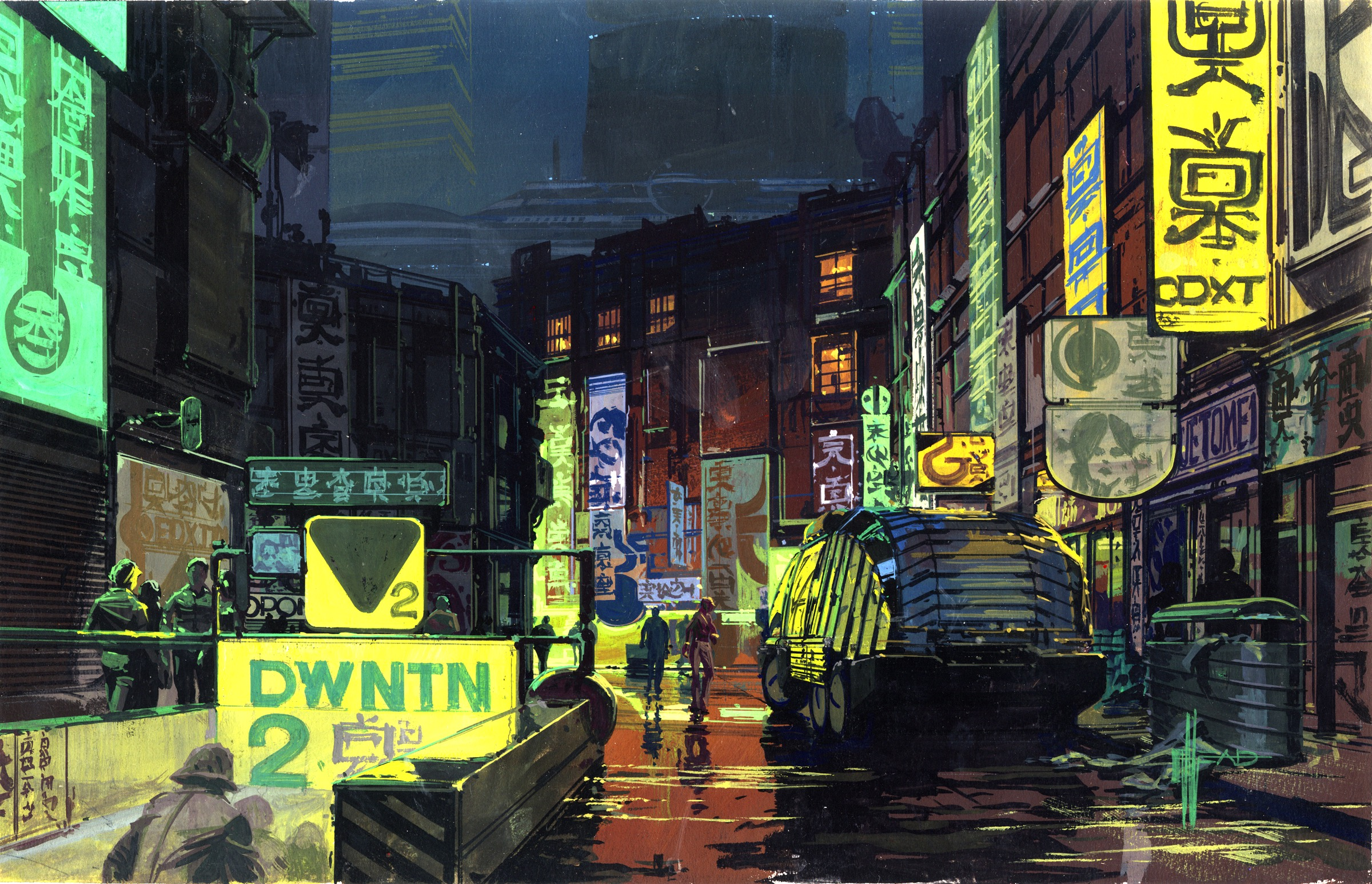 Downtown City Scape 『ブレードランナー』 © Syd Mead, Inc. © 1982 The Blade Runner Partnership. All Rights Reserved.